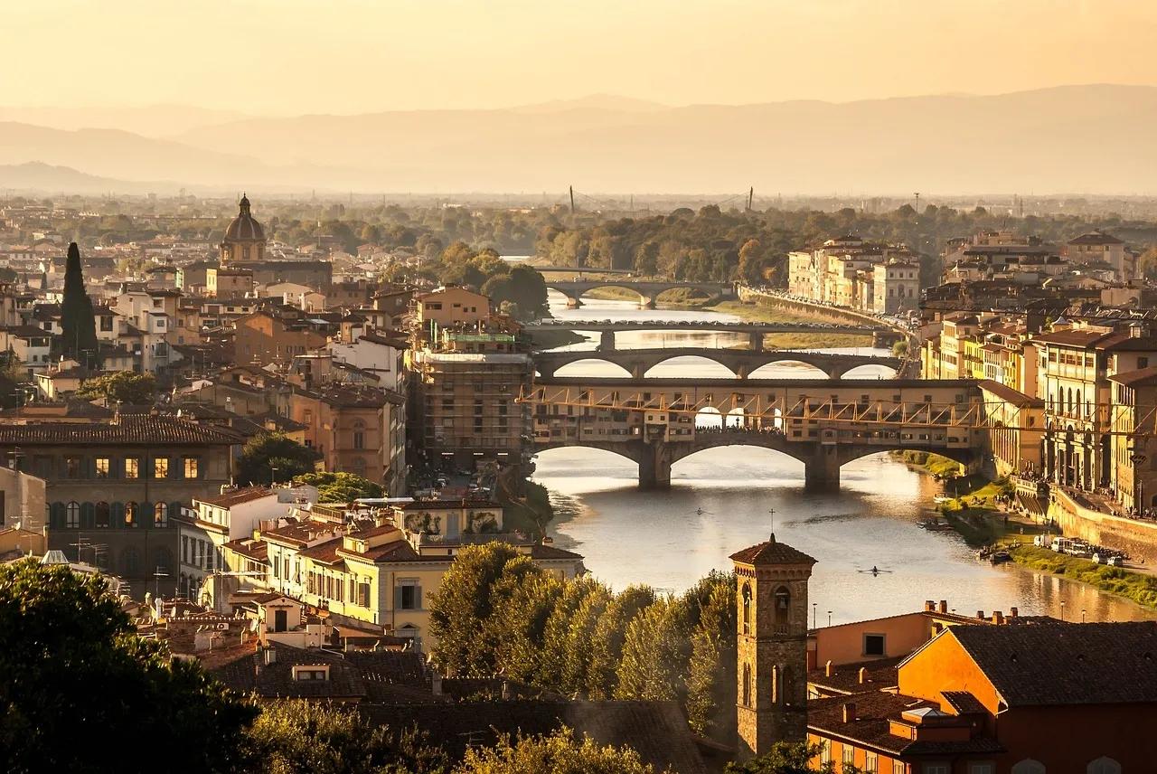 View of Ponte Vecchio bridge in Florence