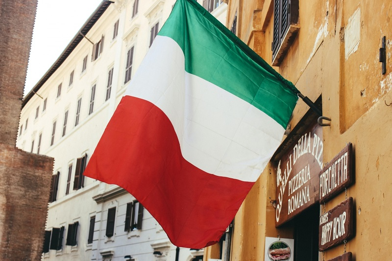 Italian Flag, flying from building
