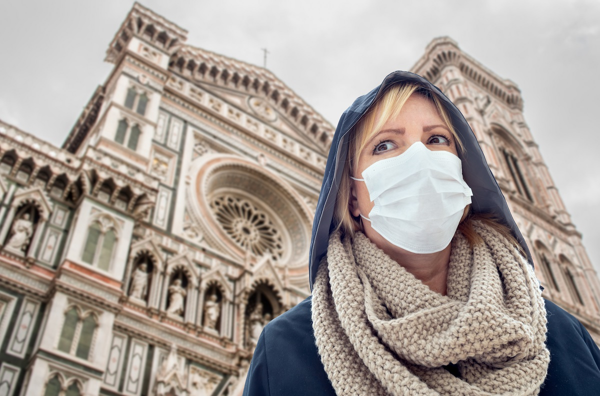 Young Woman Wearing Face Mask Walks the Streets In Tuscany, Florence, Italy.