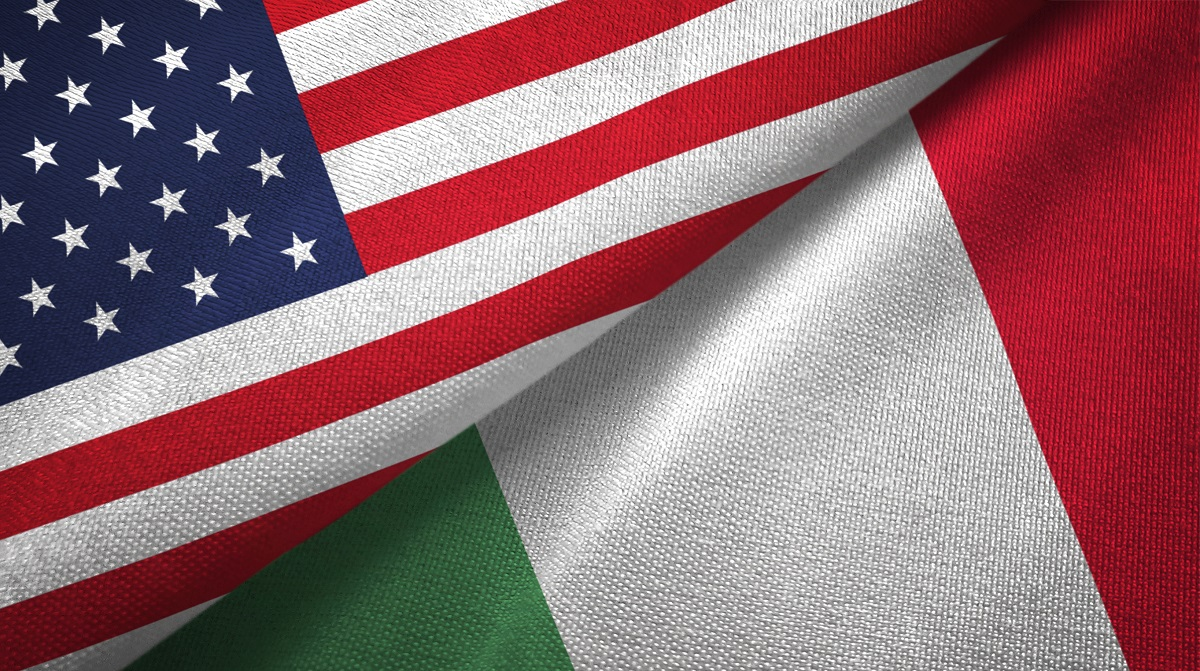 United States and Italy flags together