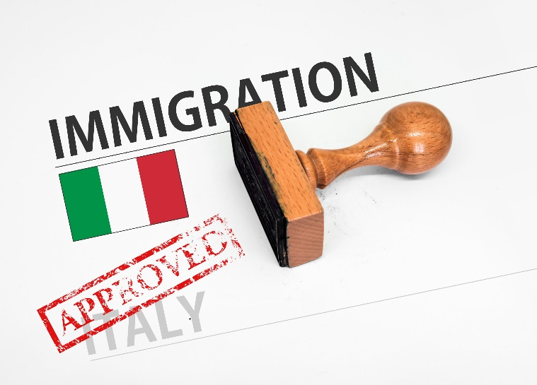 Approved Immigration Italy application form with rubber stamp