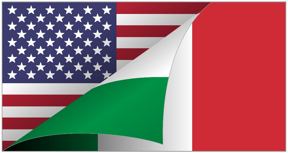 Flag of USA and italy