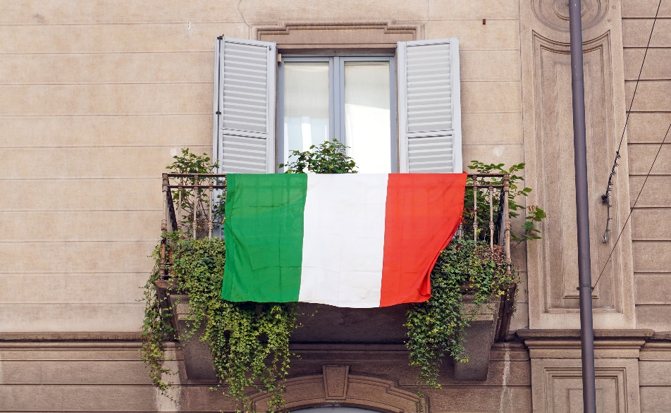 Flag of Italy hanging on the balcony