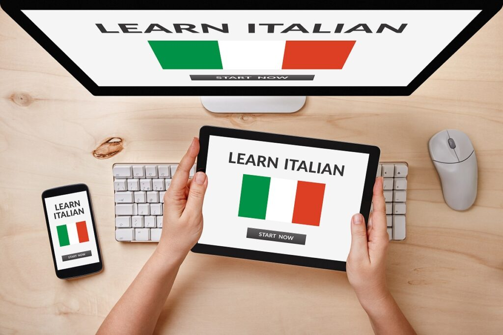 Learn Italian concept on computer, tablet and smartphone screen