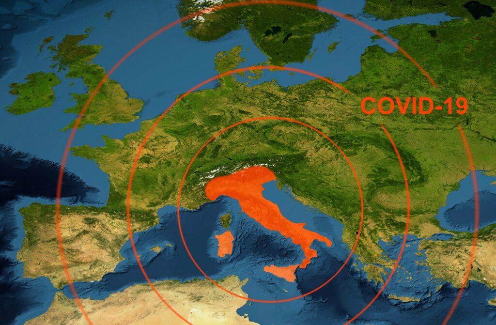 Coronavirus epidemic, word COVID-19 on Europe map.